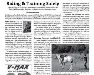 Endurance News article about training a horse for endurance compeition