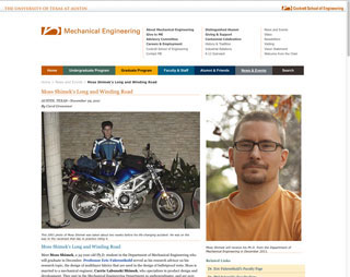 Mechanical Engineering story about a student injured in a motorcycle accident