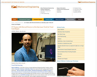 Mechanical Engineering story about a laser surgery tool for vocal cord repair